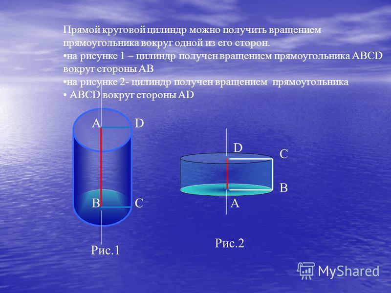 АD ВС Рис.1 Прямой круговой цилиндр можно получить вращением прямоугольника вокруг одной из его сторон. на рисунке 1 – цилиндр получен вращением прямоугольника АВСD вокруг стороны АВ на рисунке 2- цилиндр получен вращением прямоугольника АВСD вокруг