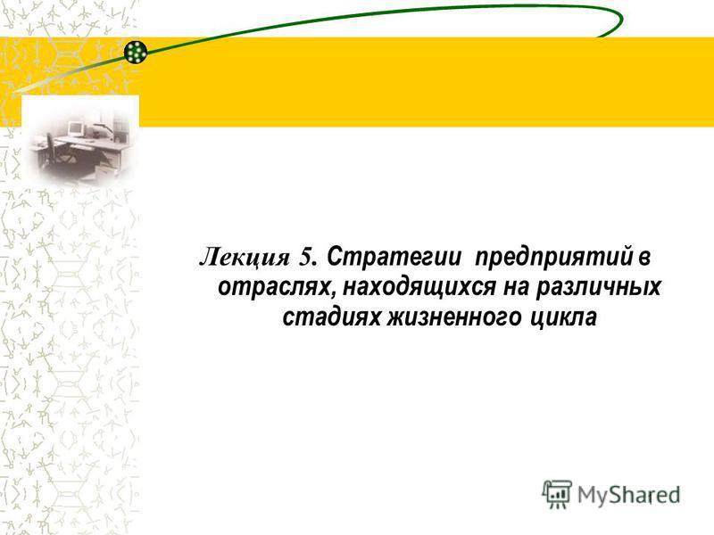 1 Лекция 5. Стратегии предприятий в отраслях, находящихся на различных стадиях жизненного цикла
