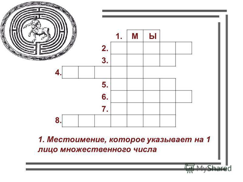 1. Местоимение, которое указывает на 1 лицо множественного числа 1. 2. 3. 5. 6. 7. 4. 8. МЫ