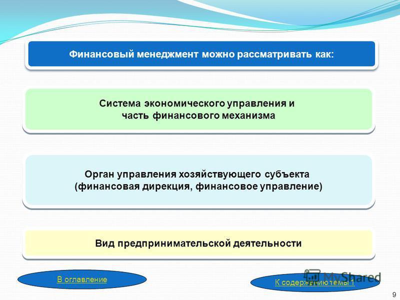 Финансовый менеджмент можно рассматривать как: Орган управления хозяйствующего субъекта (финансовая дирекция, финансовое управление) Орган управления хозяйствующего субъекта (финансовая дирекция, финансовое управление) Вид предпринимательской деятель