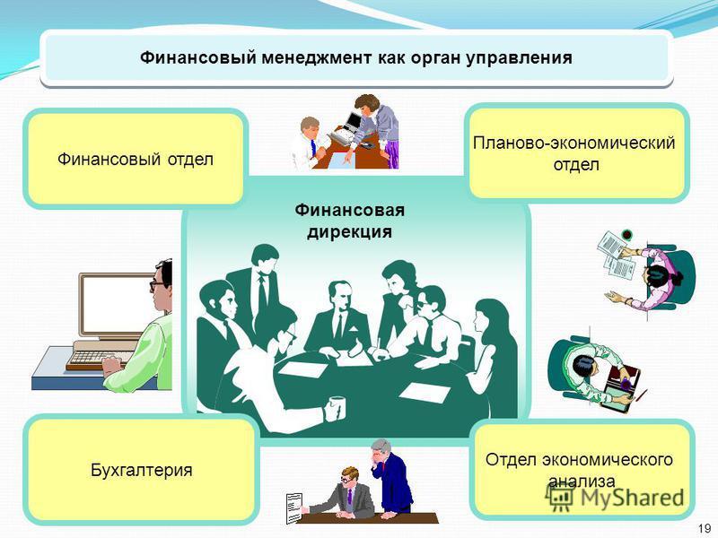 Финансовый менеджмент как орган управления Планово-экономический отдел Финансовый отдел Бухгалтерия Отдел экономического анализа Финансовая дирекция 19