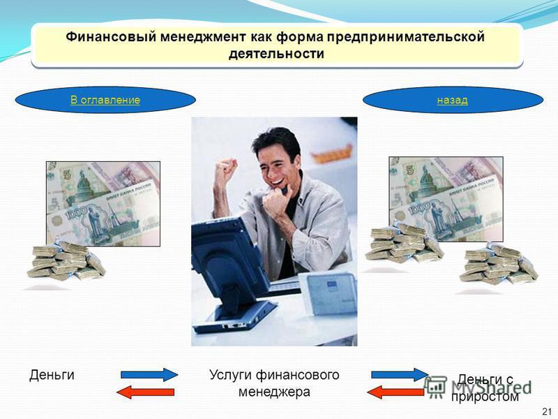 Финансовый менеджмент как форма предпринимательской деятельности Финансовый менеджмент как форма предпринимательской деятельности Деньги Деньги с приростом Услуги финансового менеджера 21 В оглавлениеназад