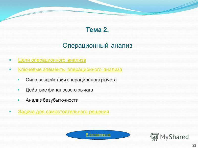 Тема 2. Операционный анализ Цели операционного анализа Ключевые элементы операционного анализа Сила воздействия операционного рычага Действие финансового рычага Анализ безубыточности Задача для самостоятельного решения 22 В оглавление