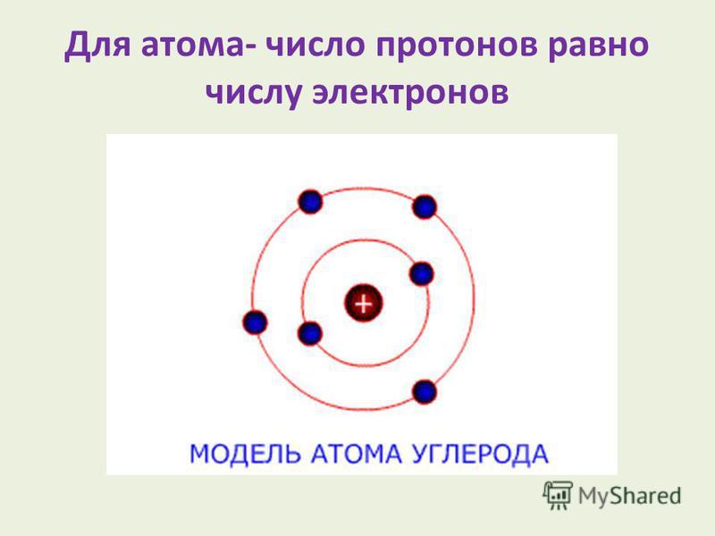 Для атома- число протонов равно числу электронов