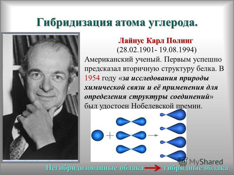 Гибридизация атома углерода. Лайнус Карл Полинг (28.02.1901- 19.08.1994) Американский ученый. Первым успешно предсказал вторичную структуру белка. В 1954 году «за исследования природы химической связи и её применения для определения структуры соедине