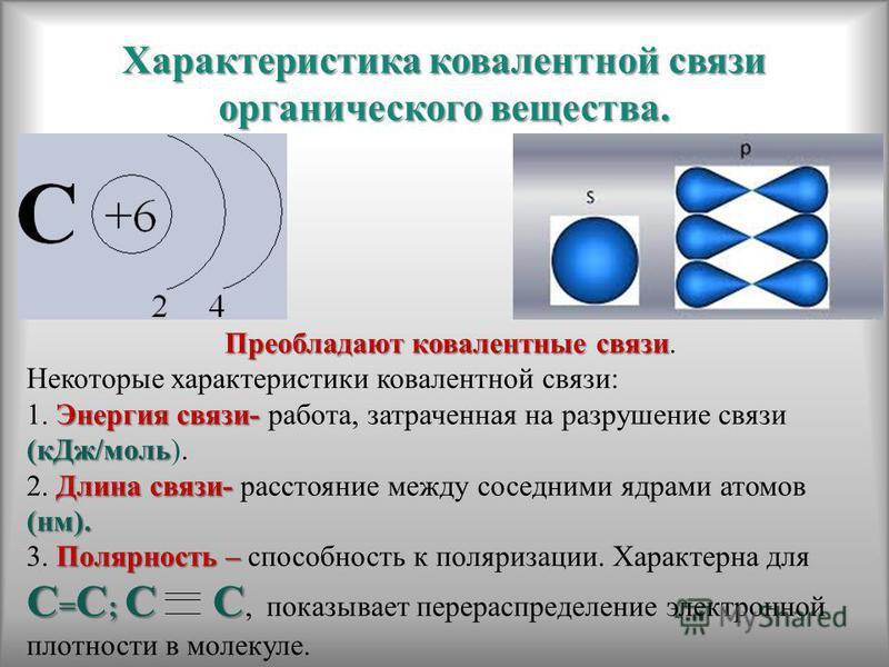 Характеристика ковалентной связи органического вещества. Преобладают ковалентные связи Преобладают ковалентные связи. Некоторые характеристики ковалентной связи: Энергия связи- (к Дж/моль 1. Энергия связи- работа, затраченная на разрушение связи (к Д