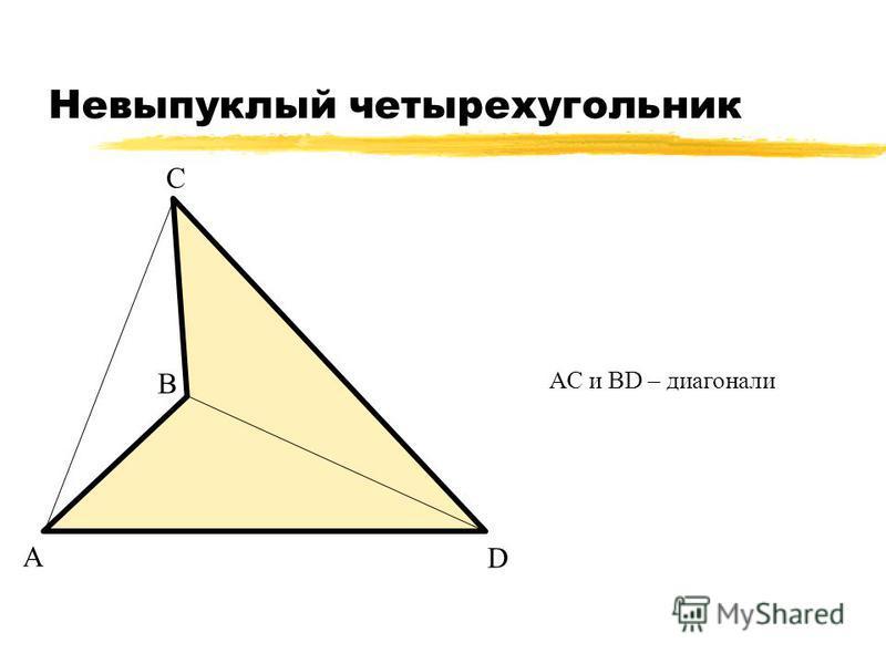 Невыпуклый четырехугольник А В С D АС и ВD – диагонали