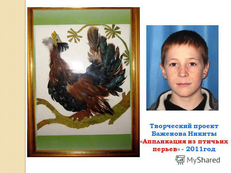 Творческий проект Баженова Никиты «Аппликация из птичьих перьев» - 2011 год