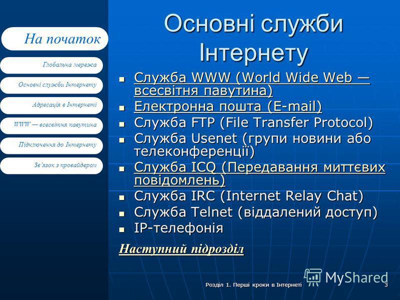 Основні служби Інтернету Адресація в Інтернеті WWW всесвітня павутина Підключення до Інтернету Глобальна мережа На початок Звязок з провайдером Розділ 1. Перші кроки в Інтернеті 3 Основні служби Інтернету Служба WWW (World Wide Web всесвітня павутина