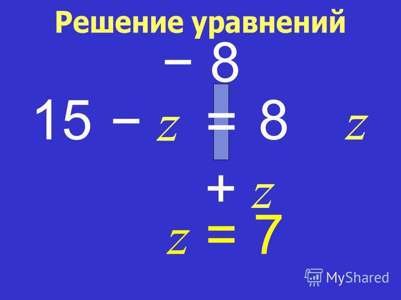 15 z + z+ z 8 8 = z z = 7