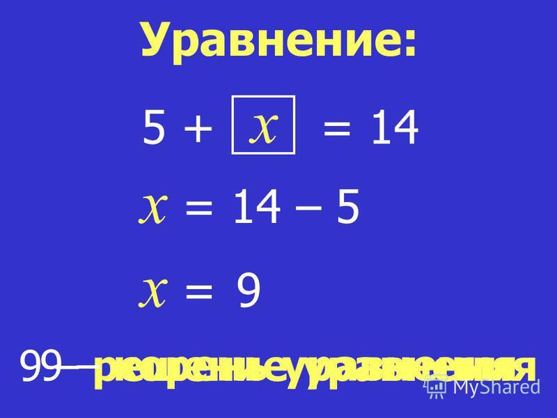 x = 14 x = 14 – 5 x = 9 9 – решение уравнения Уравнение: 5 + 9 – корень уравнения