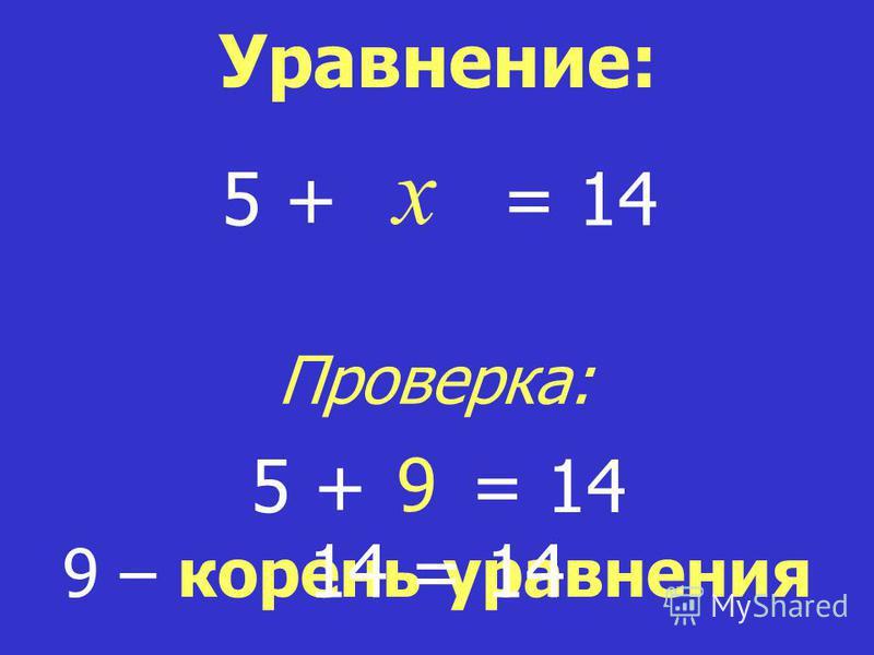 x = 14 9 – корень уравнения Уравнение: 5 + 9 = 145 + 14 = 14 Проверка: