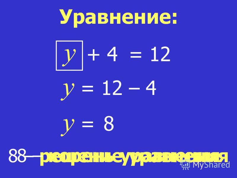 8 – решение уравнения 8 – корень уравнения y = 12 y = 12 – 4 y = 8 Уравнение: + 4+ 4