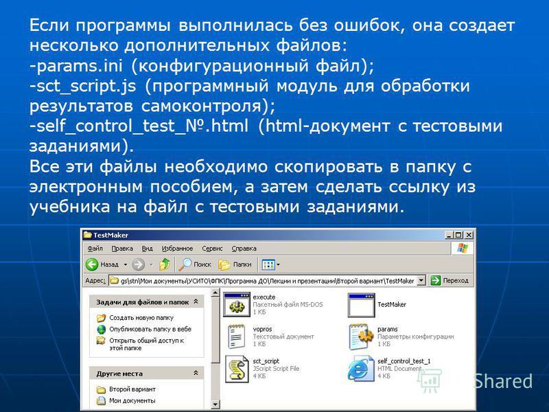 Если программы выполнилась без ошибок, она создает несколько дополнительных файлов: -params.ini (конфигурационный файл); -sct_script.js (программный модуль для обработки результатов самоконтроля); -self_control_test_.html (html-документ с тестовыми з