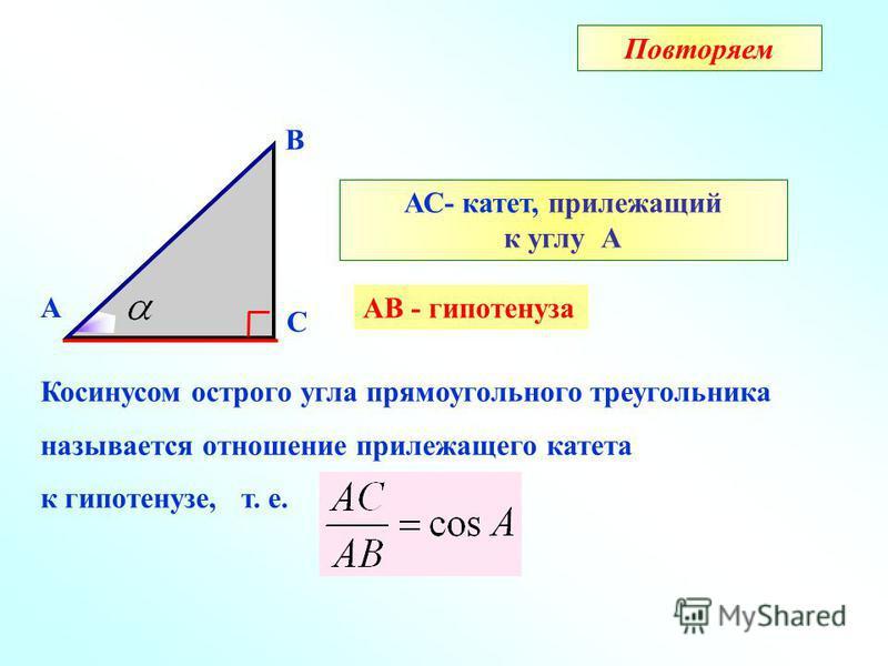 А В С АС- катет, прилежащий к углу А АВ - гипотенуза Косинусом острого угла прямоугольного треугольника называется отношение прилежащего катета к гипотенузе, т. е. Повторяем