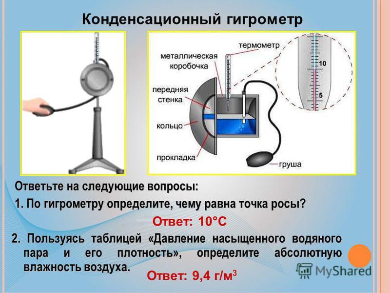 Конденсационный гигрометр Ответьте на следующие вопросы: 1. По гигрометру определите, чему равна точка росы? Ответ: 10°С 2. Пользуясь таблицей «Давление насыщенного водяного пара и его плотность», определите абсолютную влажность воздуха. Ответ: 9,4 г
