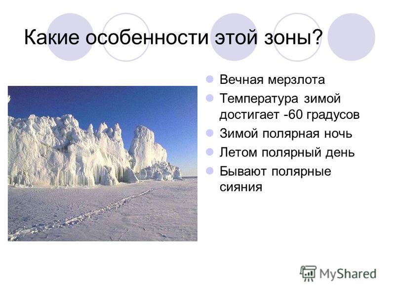 Какие особенности этой зоны? Вечная мерзлота Температура зимой достигает -60 градусов Зимой полярная ночь Летом полярный день Бывают полярные сияния