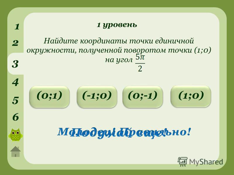 1 уровень 1 2 3 4 5 6 (-1;0)(0;1)(0;-1) Найдите координаты точки единичной окружности, полученной поворотом точки (1;0) на угол (1;0)