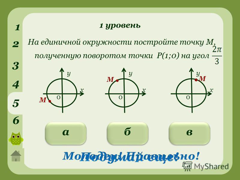 1 уровень 1 2 3 4 5 6 вба На единичной окружности постройте точку М, полученную поворотом точки Р(1;0) на угол у х 0 у х 0 у х 0.М.М М.