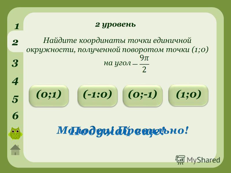 2 уровень 1 2 3 4 5 6 (0;1)(0;-1)(-1:0) Найдите координаты точки единичной окружности, полученной поворотом точки (1;0) на угол (1;0)