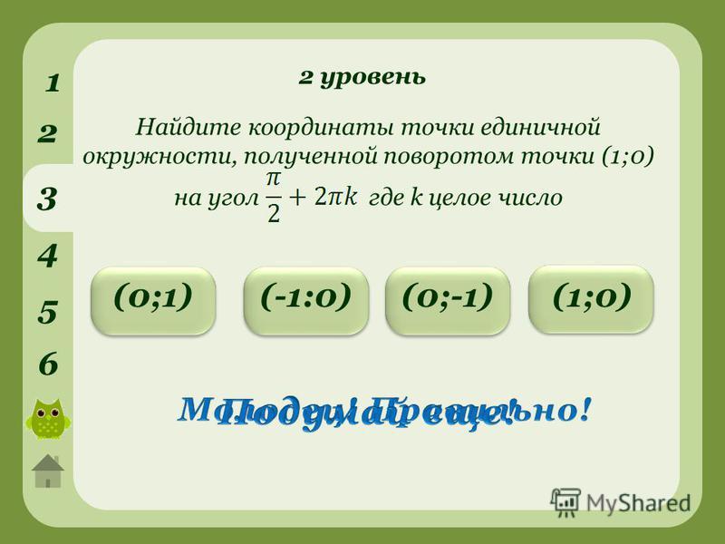 2 уровень 1 2 3 4 5 6 (0;-1)(0;1)(-1:0) Найдите координаты точки единичной окружности, полученной поворотом точки (1;0) на угол где k целое число (1;0)