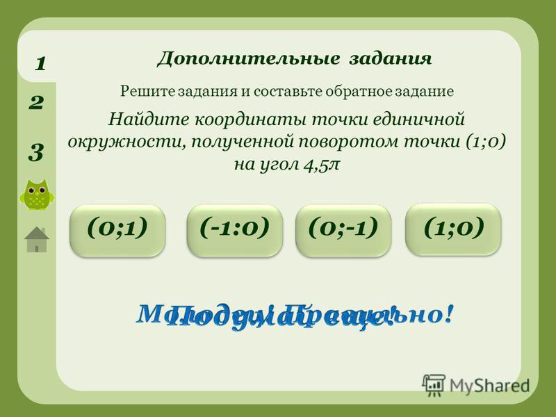 1 2 3 (0;-1)(0;1)(-1:0) Решите задания и составьте обратное задание Найдите координаты точки единичной окружности, полученной поворотом точки (1;0) на угол 4,5π (1;0) Дополнительные задания