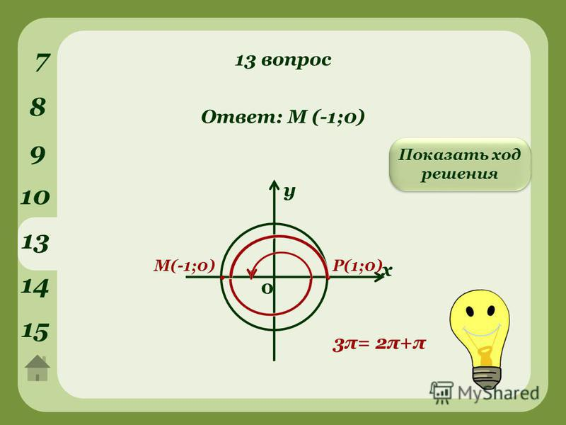 13 вопрос 7 8 9 10 у х 0. Р(1;0) 3π= 2π+π М(-1;0). Ответ: М (-1;0) Показать ход решения 13 14 15