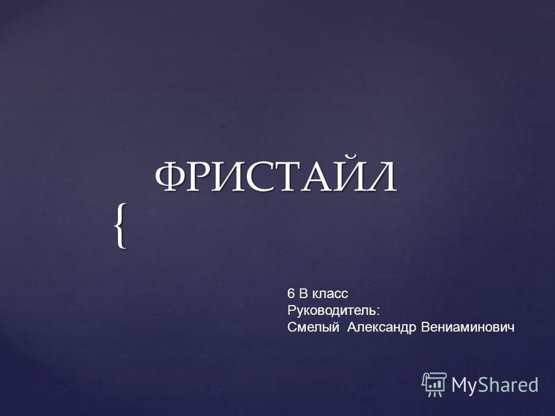 { ФРИСТАЙЛ 6 В класс Руководитель: Смелый Александр Вениаминович