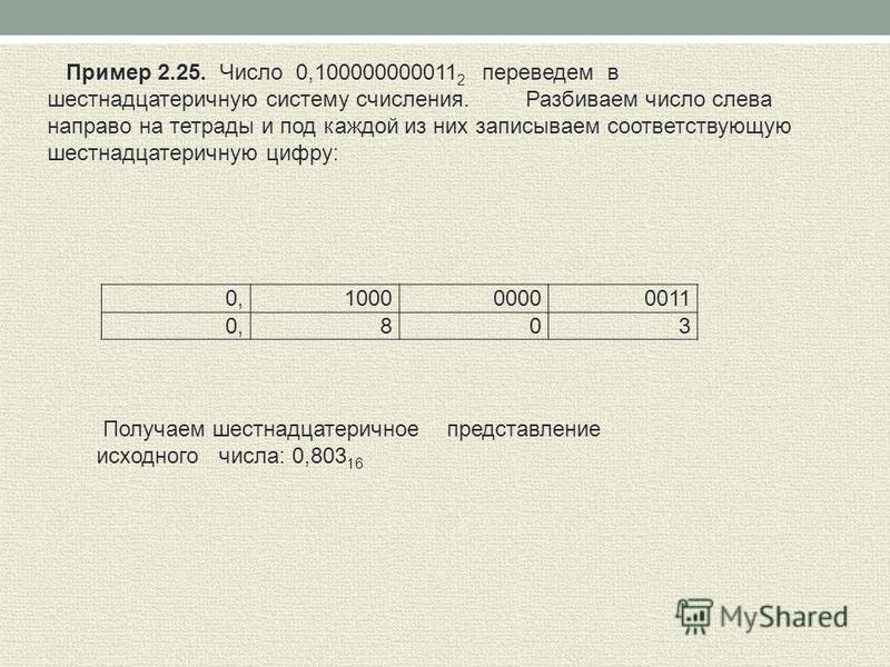 100000000011 0,8 0 3 Пример 2.25. Число 0,100000000011 2 переведем в шестнадцатеричную систему счисления. Разбиваем число слева направо на тетрады и под каждой из них записываем соответствующую шестнадцатеричную цифру: Получаем шестнадцатеричное пред