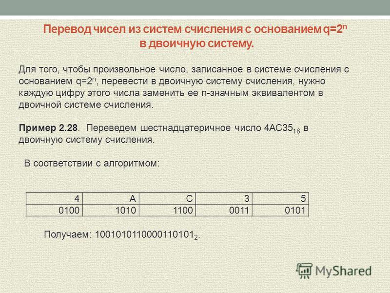 Перевод чисел из систем счисления с основанием q=2 n в двоичную систему. 4А С 3 5 0100 1010 1100 0011 0101 Для того, чтобы произвольное число, записанное в системе счисления с основанием q=2 n, перевести в двоичную систему счисления, нужно каждую циф