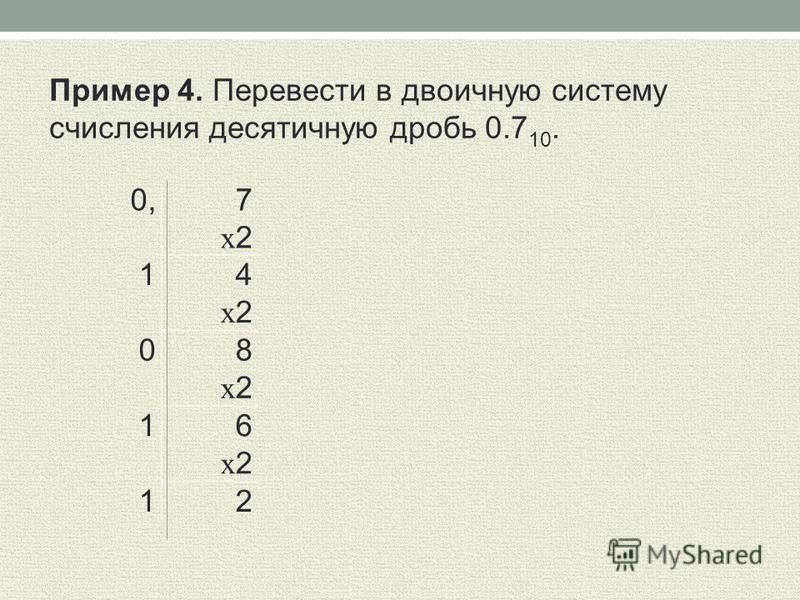 0, 7 x 2 1 4 x 2 0 8 x 2 1 6 x 2 1 2 Пример 4. Перевести в двоичную систему счисления десятичную дробь 0.7 10.