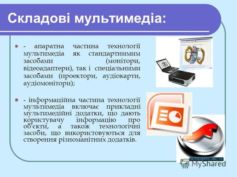 Складові мультимедіа: - апаратна частина технології мультимедіа як стандартнимим засобами (монітори, відеоадаптери), так і спеціальними засобами (проектори, аудіокарти, аудіомонітори); - інформаційна частина технології мультимедіа включає прикладні м
