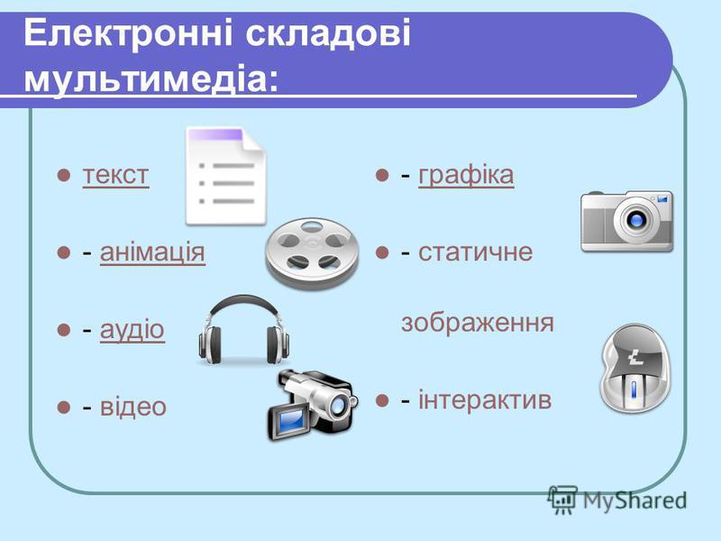 Електронні складові мультимедіа: текст - анімаціяанімація - аудіоаудіо - відео - графікаграфіка - статичне зображення - інтерактив