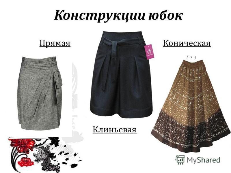 Конструкции юбок Прямая Клиньевая Коническая
