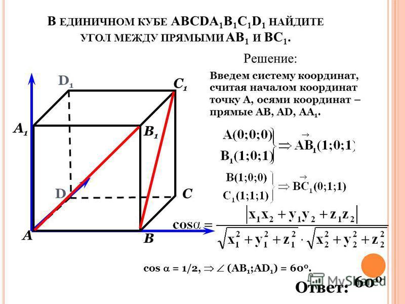 В ЕДИНИЧНОМ КУБЕ АВСDА 1 В 1 С 1 D 1 НАЙДИТЕ УГОЛ МЕЖДУ ПРЯМЫМИ АВ 1 И ВС 1. Решение: Введем систему координат, считая началом координат точку А, осями координат – прямые АВ, АD, АА 1. D D1D1 А А1А1 В В1В1 С С1С1 cos = 1/2, (АВ 1 ;AD 1 ) = 60 0. Отве
