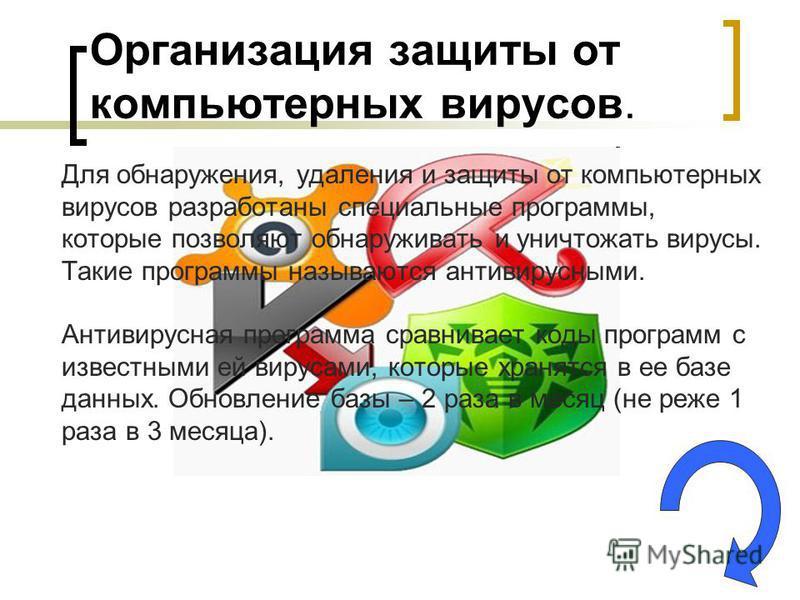 Организация защиты от компьютерных вирусов. Для обнаружения, удаления и защиты от компьютерных вирусов разработаны специальные программы, которые позволяют обнаруживать и уничтожать вирусы. Такие программы называются антивирусными. Антивирусная прогр