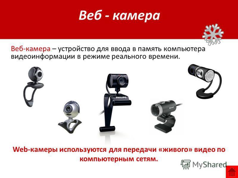 Web-камеры используются для передачи «живого» видео по компьютерным сетям. Веб-камера – устройство для ввода в память компьютера видеоинформации в режиме реального времени. Веб - камера