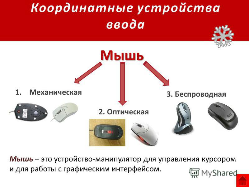 Координатные устройства ввода 1. Механическая 2. Оптическая 3. Беспроводная Мышь Мышь – это устройство-манипулятор для управления курсором и для работы с графическим интерфейсом.