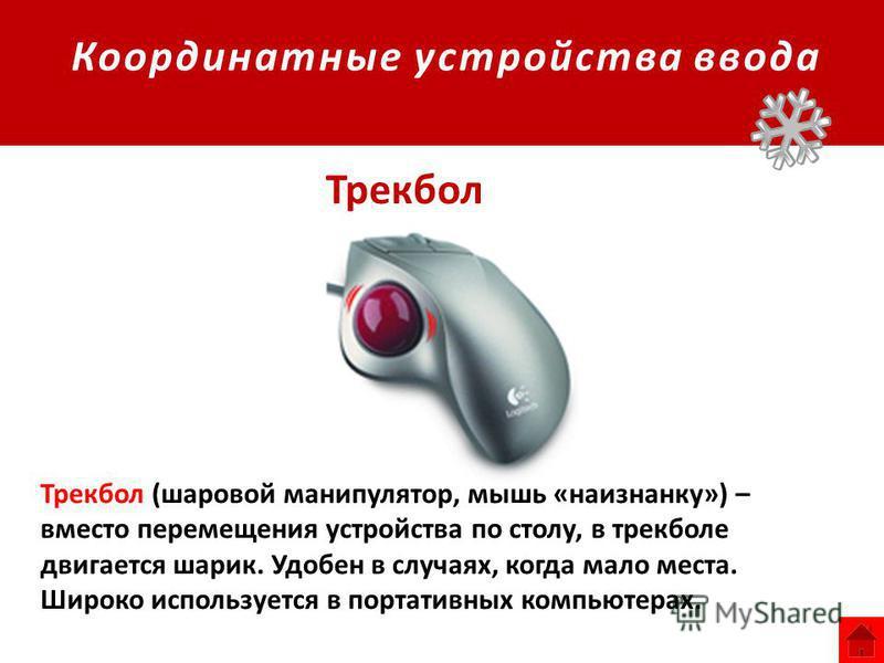 Координатные устройства ввода Трекбол Трекбол (шаровой манипулятор, мышь «наизнанку») – вместо перемещения устройства по столу, в трекболе двигается шарик. Удобен в случаях, когда мало места. Широко используется в портативных компьютерах.