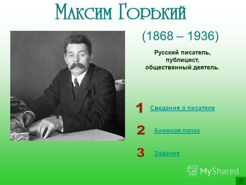 (1868 – 1936) Сведения о писателе Книжная полка Русский писатель, публицист, общественный деятель. Задания