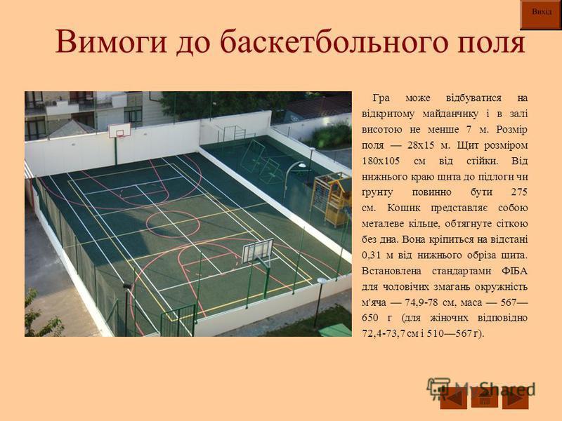 Вимоги до баскетбольного поля Гра може відбуватися на відкритому майданчику і в залі висотою не менше 7 м. Розмір поля 28х15 м. Щит розміром 180х105 см від стійки. Від нижнього краю щита до підлоги чи ґрунту повинно бути 275 см. Кошик представляє соб