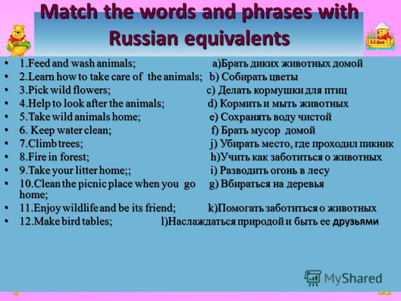 Match the words and phrases with Russian equivalents 1. Feed and wash animals; a)Брать диких животных домой 1. Feed and wash animals; a)Брать диких животных домой 2. Learn how to take care of the animals; b) Cобирать цветы 2. Learn how to take care o