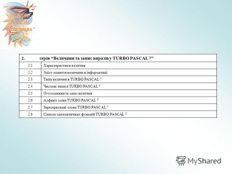 ДИНАМІЧНА ДОВІДКОВА СИСТЕМА TURBO PASCAL В ТАБЛИЦЯХ В ТАБЛИЦЯХ 2. серія Величини та запис виразів у TURBO PASCAL 7 2.1Характеристики величин 2.2Зміст поняття величини в інформатиці 2.3Типи величин в TURBO PASCAL 7 2.4Числові типи в TURBO PASCAL 7 2.5