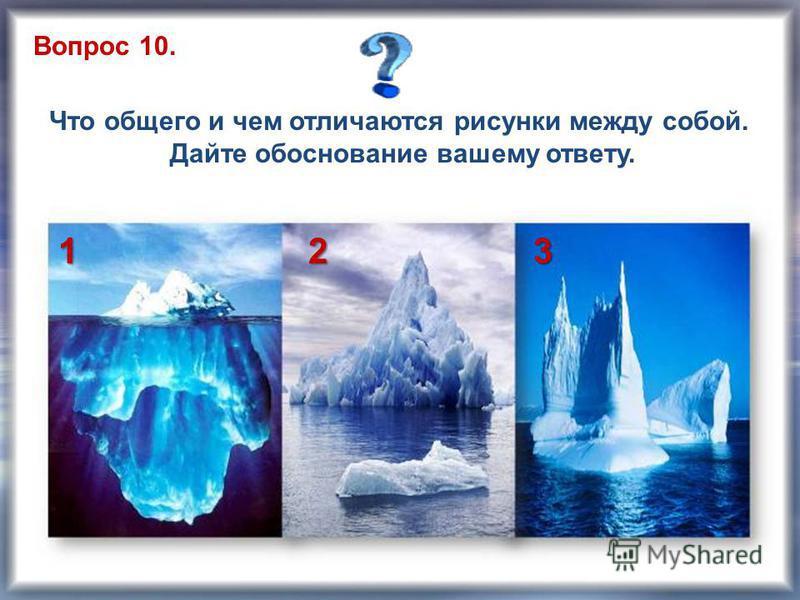 Вопрос 10. Что общего и чем отличаются рисунки между собой. Дайте обоснование вашему ответу. 123