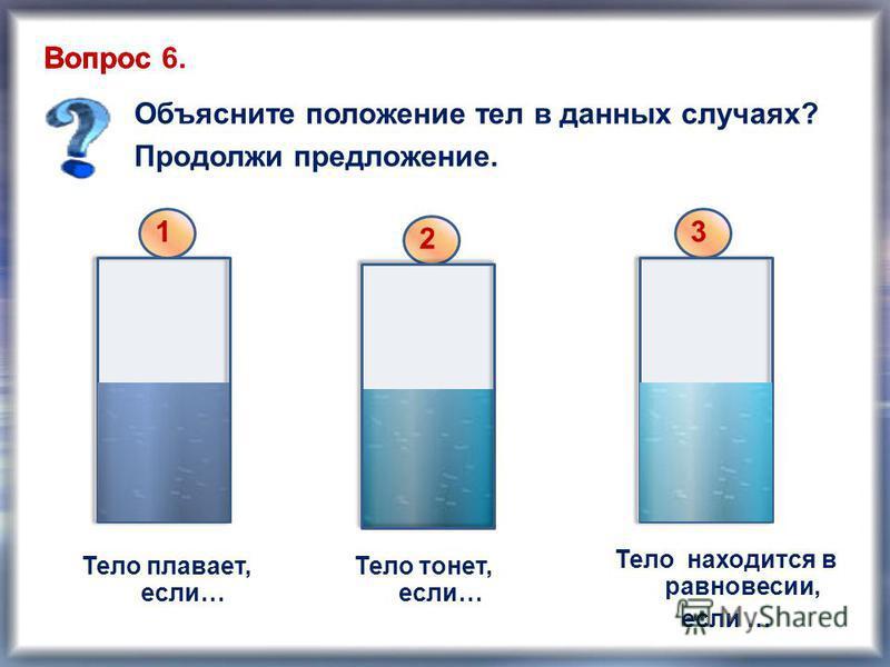 Тело плавает, если… Тело находится в равновесии, если … Тело тонет, если… Объясните положение тел в данных случаях? Продолжи предложение. Вопрос 1 2 3 Вопрос 6.