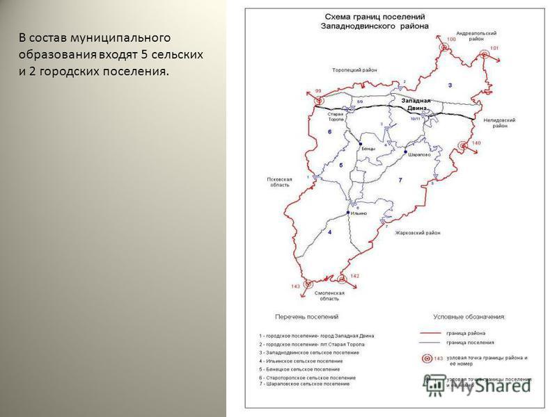В состав муниципального образования входят 5 сельских и 2 городских поселения.