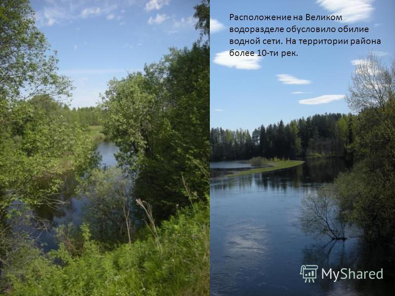 Расположение на Великом водоразделе обусловило обилие водной сети. На территории района более 10-ти рек.