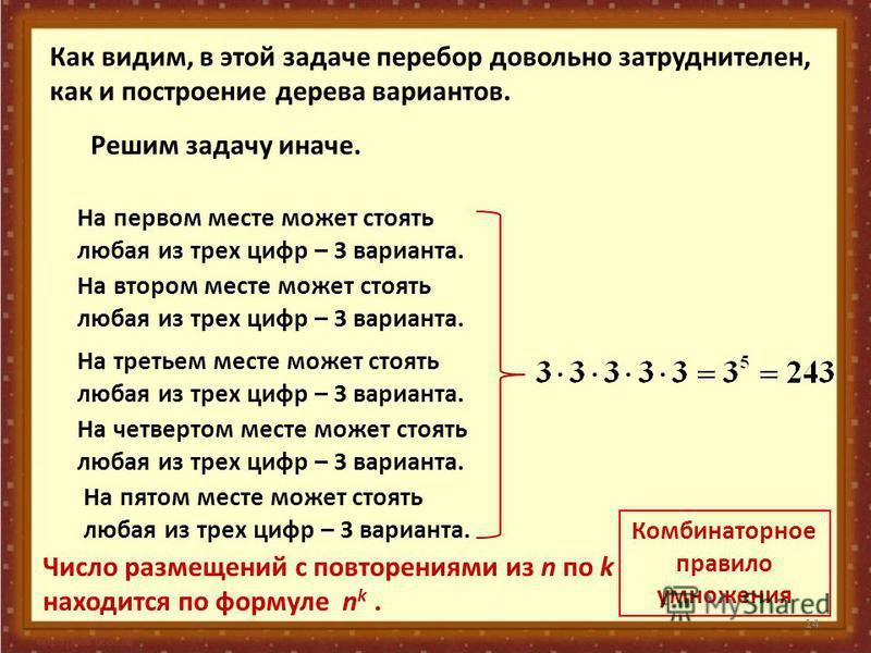 14 Как видим, в этой задаче перебор довольно затруднителен, как и построение дерева вариантов. Решим задачу иначе. На первом месте может стоять любая из трех цифр – 3 варианта. На втором месте может стоять любая из трех цифр – 3 варианта. На третьем