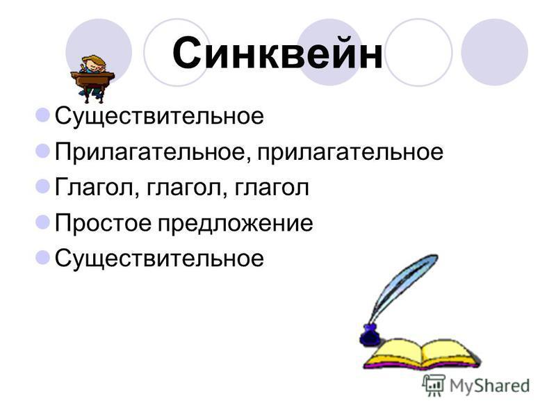 Синквейн Существительное Прилагательное, прилагательное Глагол, глагол, глагол Простое предложение Существительное