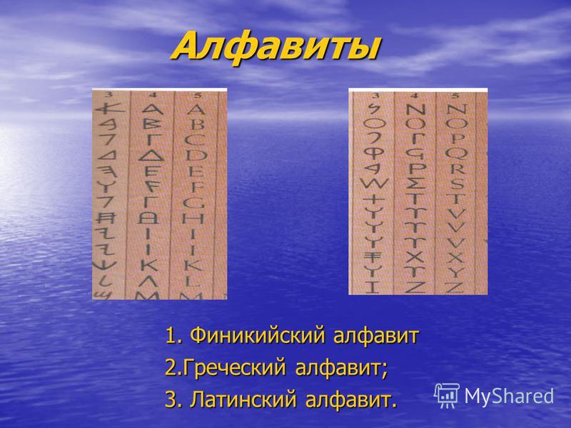 Алфавиты Алфавиты 1. Финикийский алфавит 1. Финикийский алфавит 2. Греческий алфавит; 2. Греческий алфавит; 3. Латинский алфавит. 3. Латинский алфавит.